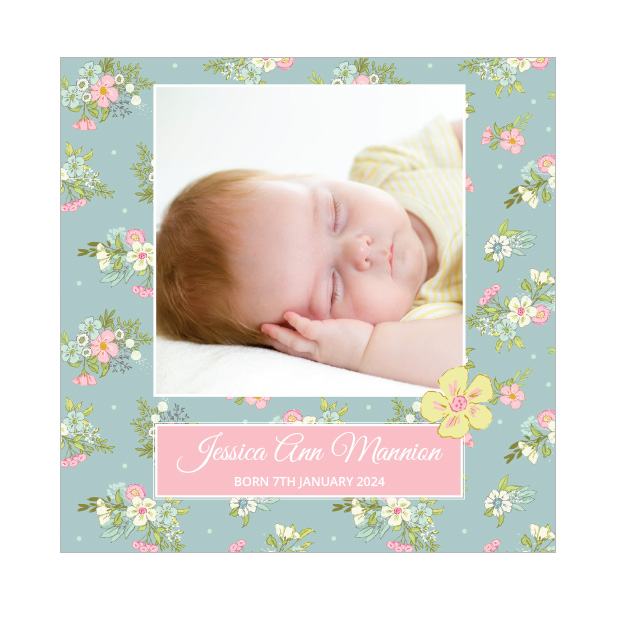 Days Gone By, baby thank you card for girls, square format.