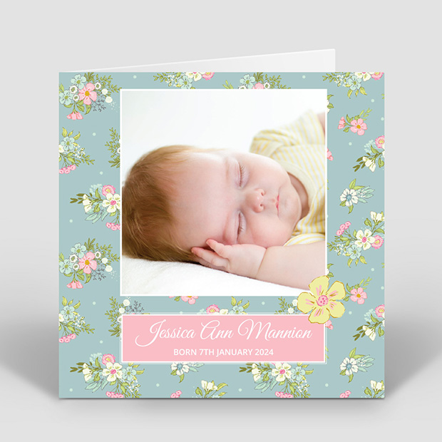 Days Gone By, baby thank you card for girls by Cedar Tree