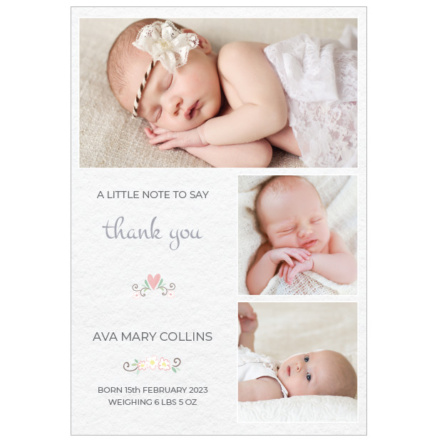 Soft Texture - Girl, baby thank you card for girls, portrait format.