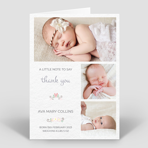 Soft Texture - Girl, baby thank you card for girls by Cedar Tree