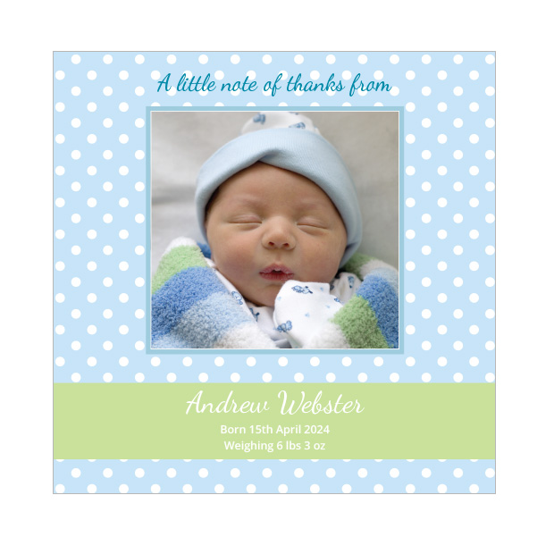 Blue Polka, baby thank you card for boys