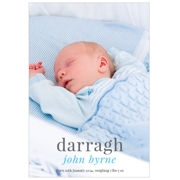 Gentle Touch - boy, baby thank you card for boys, portrait format.