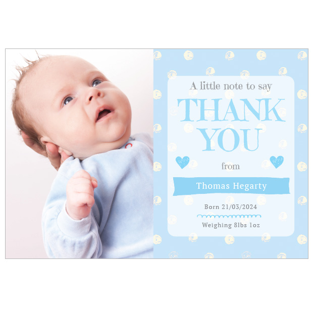 Perfect Polka - Boy, baby thank you card for boys, landscape format