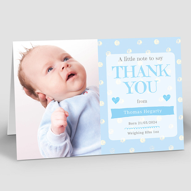 Perfect Polka – Boy, baby thank you card for boys by Cedar Tree