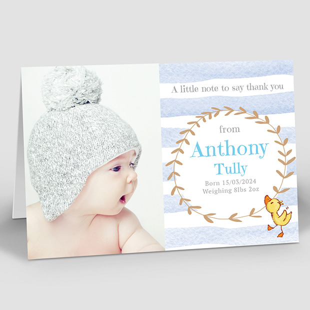 Dancing Ducklings - Boy, baby thank you card for boys by Cedar Tree