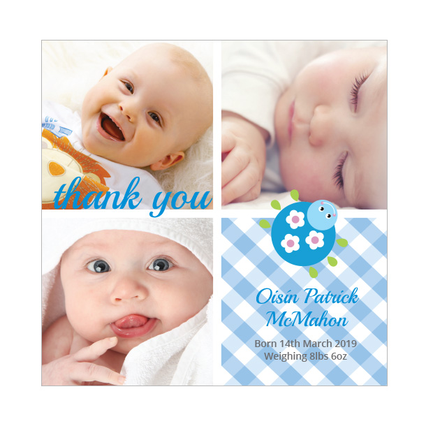 Cutie Bug - Boy, baby thank you card for boys.