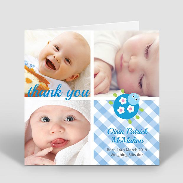 Cutie Bug – Boy, baby thank you card for boys by Cedar Tree