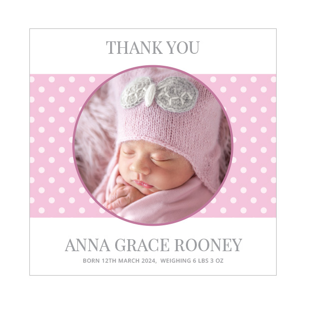 Delight, baby thank you card for girls, square format.