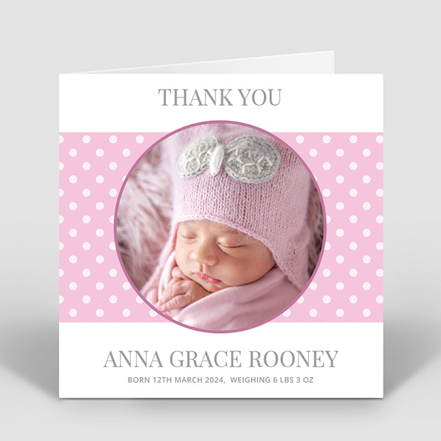 Delight - Girl, baby thank you card for girls by Cedar Tree