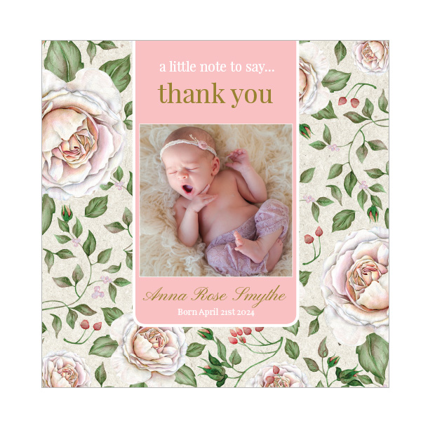 Retro Rose, baby thank you card for girls, square format.