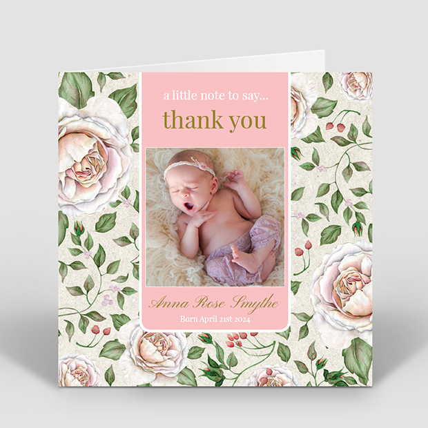 Retro Rose, baby thank you card for girls by Cedar Tree