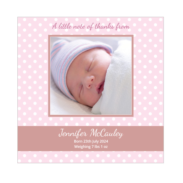 Pink Polka, baby thank you card for girls