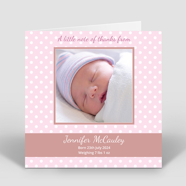 Pink Polka, baby thank you card for girls by Cedar Tree