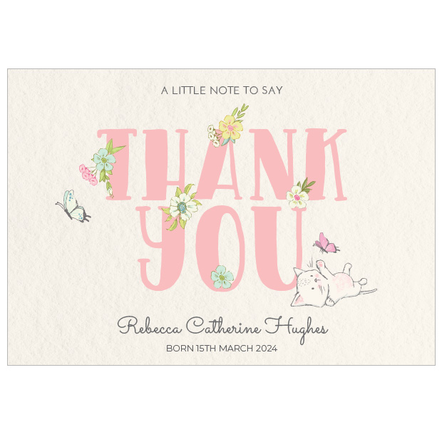 Butterfly Play, baby thank you card for girls