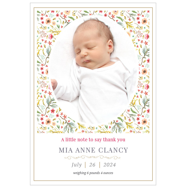 Wild Flower Garden, baby thank you card for girls - portrait format