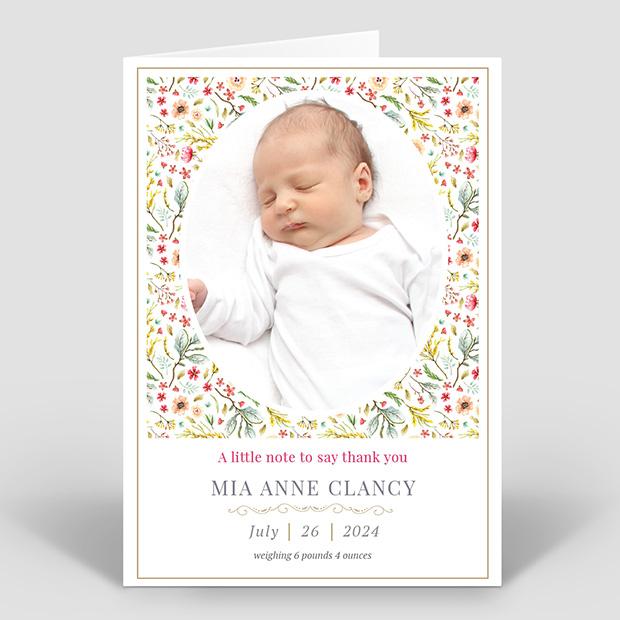 Wild Flower Garden, baby thank you card for girls by Cedar Tree