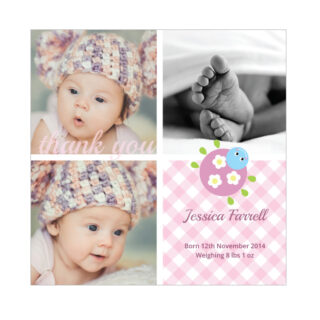 Cutie Bug - Girl, baby thank you card for girls.