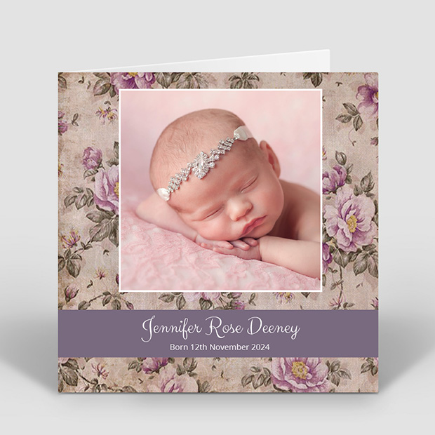 Timeless, baby thank you card for girls by Cedar Tree