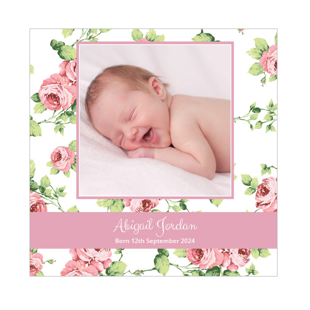 Garden View, baby thank you card for girls, square format.