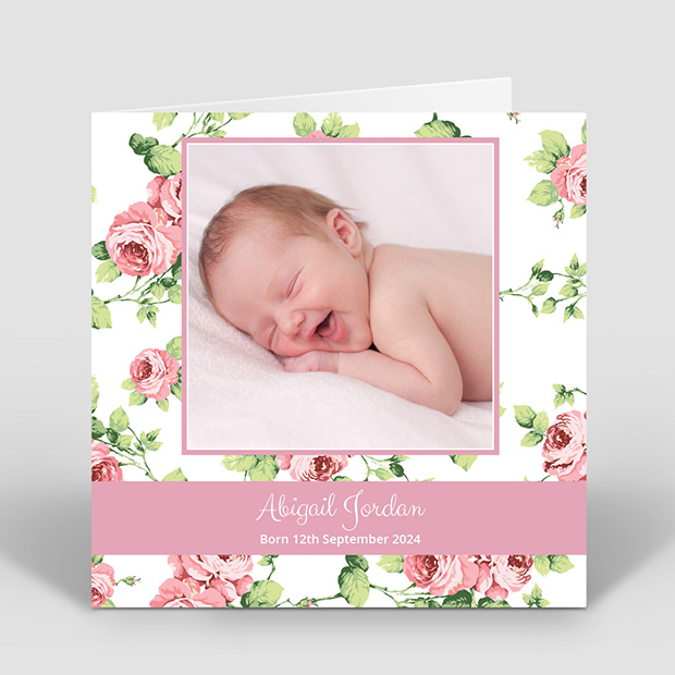 Garden View, baby thank you card for girls by Cedar Tree