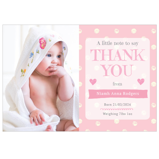 Perfect Polka - Girl, baby thank you card for girls, landscape format