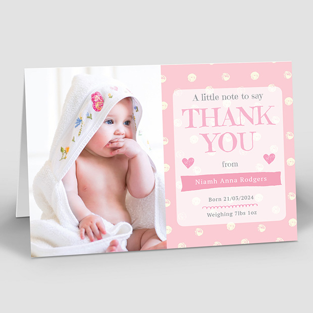 Perfect Polka – Girl, baby thank you card for girls by Cedar Tree