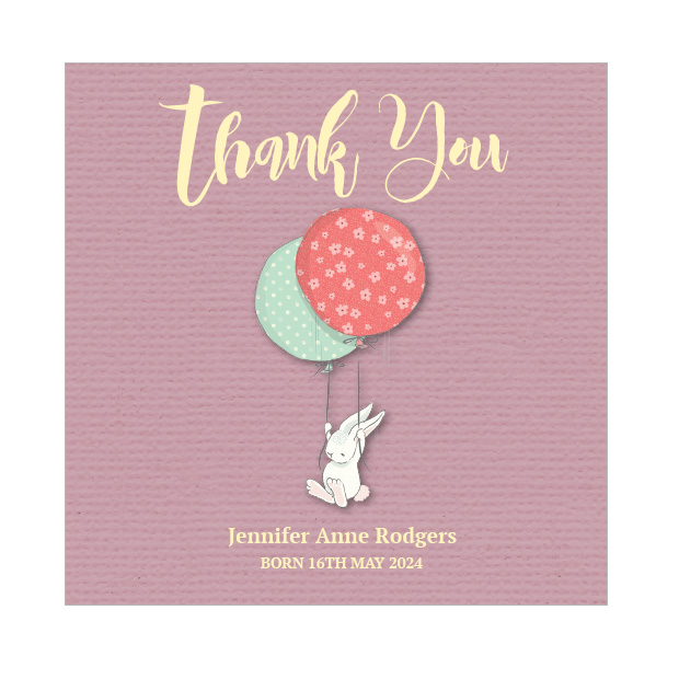 New Arrival - Girl, baby thank you card for girls