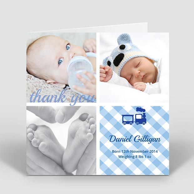 All Aboard, baby thank you card for boys by Cedar Tree