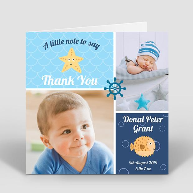 Ship Ahoy, baby thank you card for boys by Cedar Tree