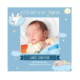 Time to Sleep, baby thank you cards for boys.