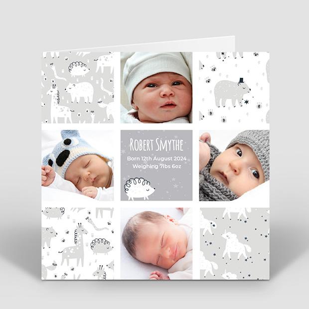 Animal Dreams - Boy, baby thank you card for boys by Cedar Tree