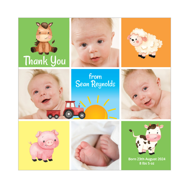 Old MacDonald, baby thank you card for girls & boys. Square format.
