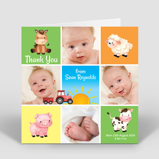 Old McDonald, baby thank you card for boys and girls by Cedar Tree