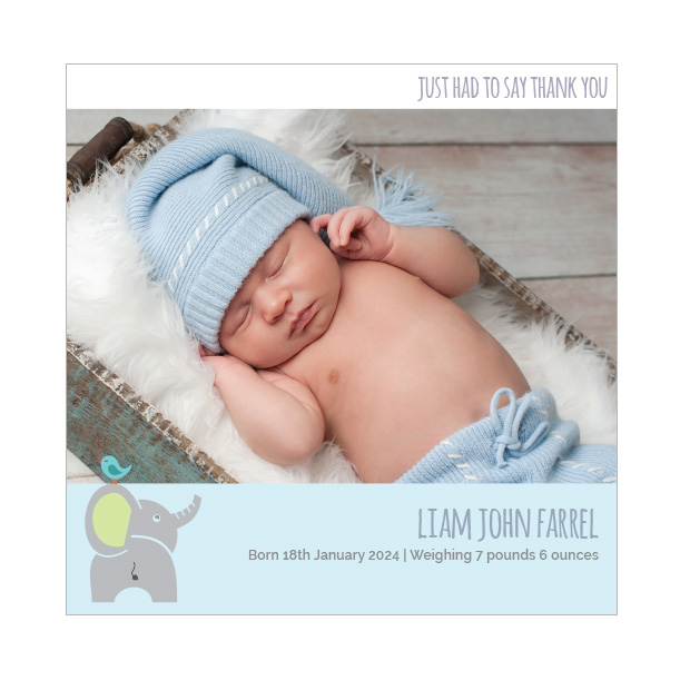 Best Friends - Boy, baby thank you cards for boys. Square Format.