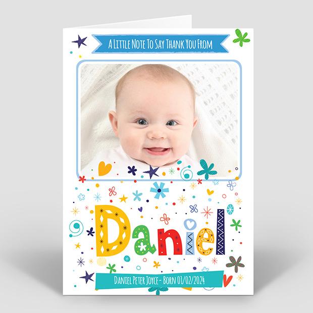 Rainbow Name - Boy, baby thank you card for boys by Cedar Tree