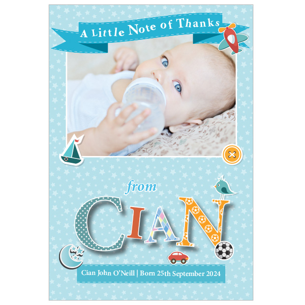Featured Name - Boy, baby thank you cards for boys- portrait format