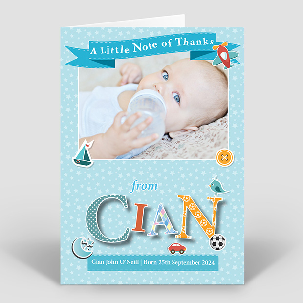 Featured Name - Boy, baby thank you card for boys by Cedar Tree