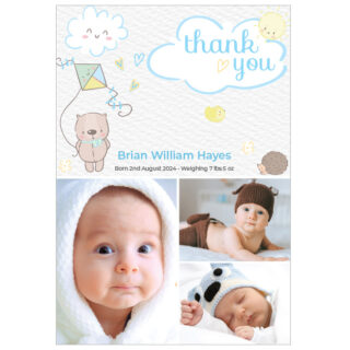 Care Free - Boy, baby thank you cards for boys