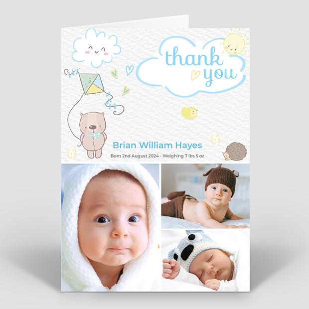 Care Free – Boy, baby thank you card for boys by Cedar Tree
