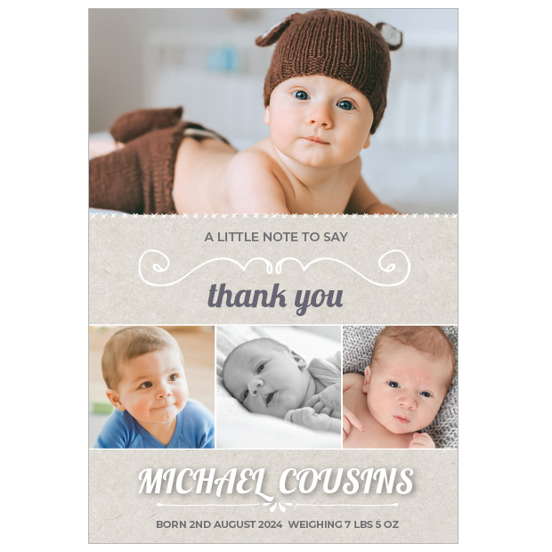 Wrap Me Up - Boy, baby thank you cards for boys.