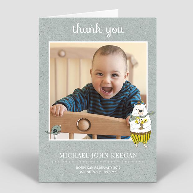 Bear Picnic, baby thank you card for boys by Cedar Tree