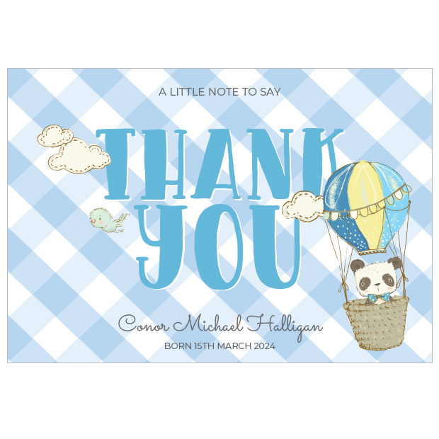 Up Up and Away, baby thank you cards for boys.