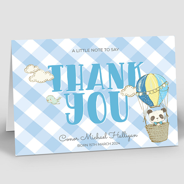 Up Up and Away, baby thank you card for boys by Cedar Tree