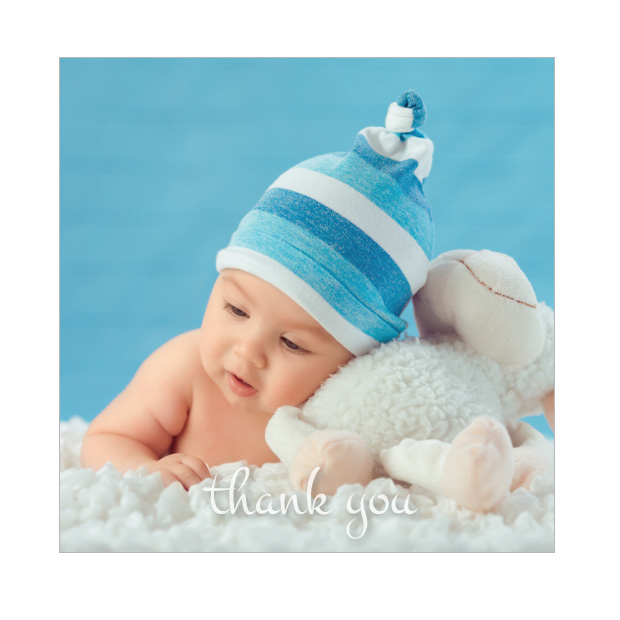 Photo Frame - Boy, baby thank you card for boys, square format