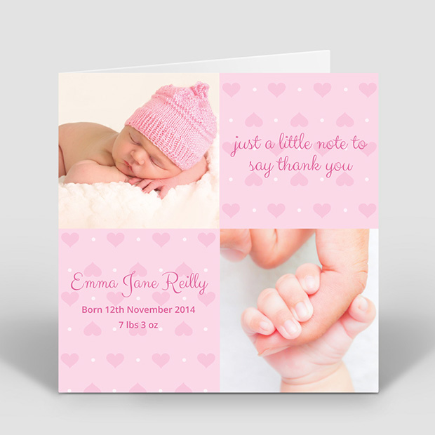 Two Hearts, baby thank you card for girls by Cedar Tree