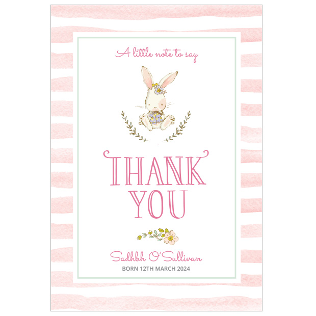 Hop, Skip and Jump - Girl, baby thank you cards for girls