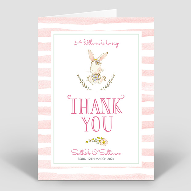 Hop, Skip and Jump - Girl, baby thank you card for girls by Cedar Tree