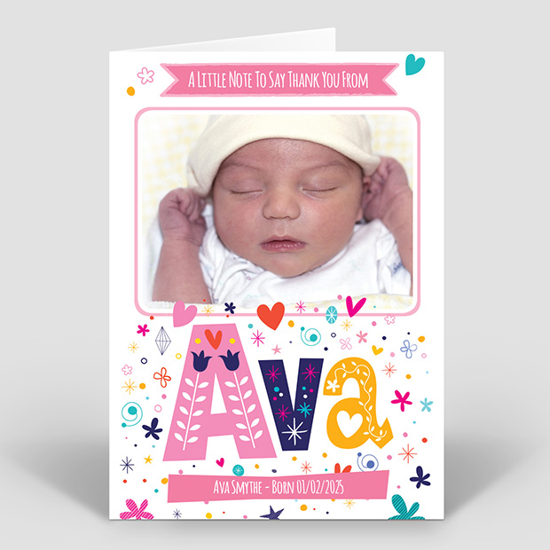 Rainbow Name - Girl, baby thank you card for girls by Cedar Tree