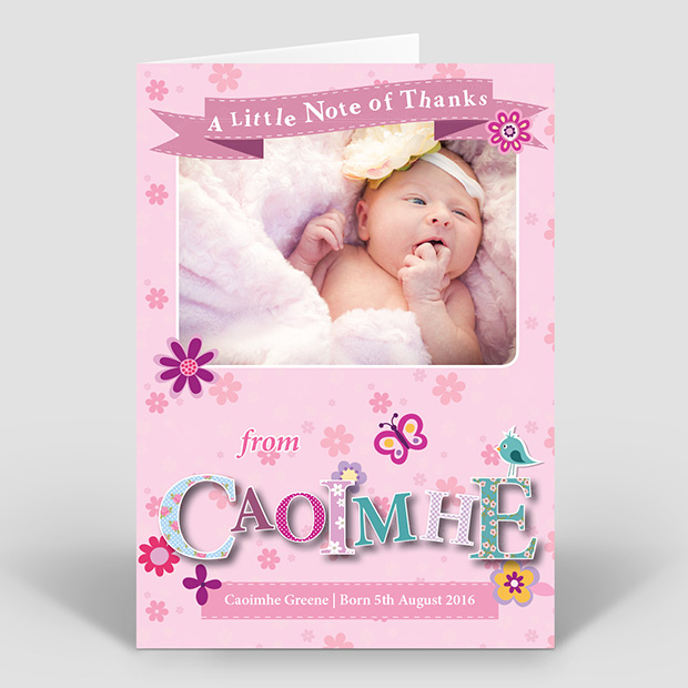 Featured Name - Girl, baby thank you card for girls by Cedar Tree