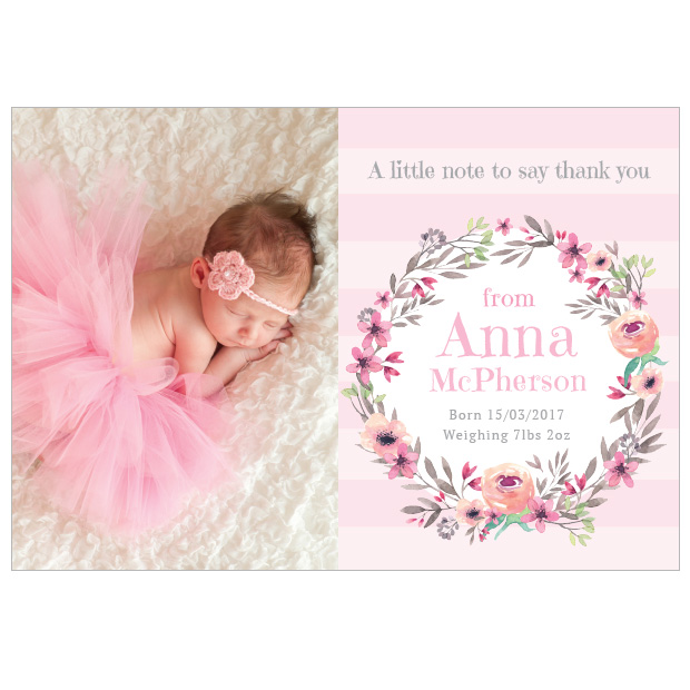 Floral Dance, baby thank you card for girls, landscape format